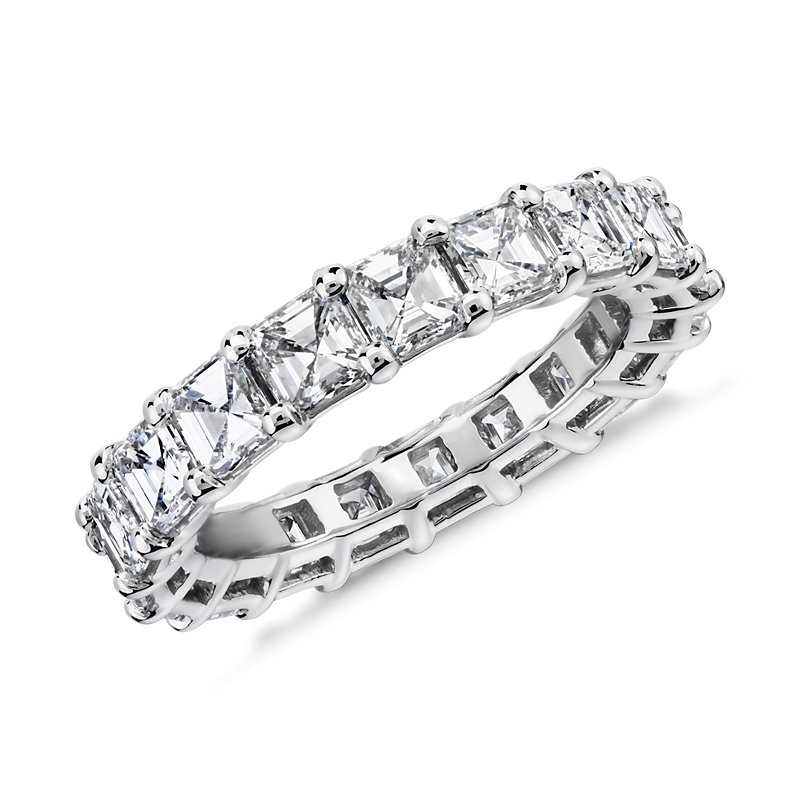 Asscher Cut Diamond Eternity Ring in Platinum (4.0 ct. tw.)