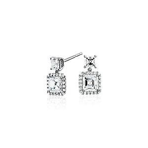 Asscher-Cut Diamond Drop Halo Earrings in 18k White Gold (1.50ct. tw.)