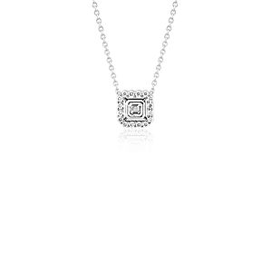 NEW Asscher-Cut Diamond Floating Halo Necklace in 18k White Gold