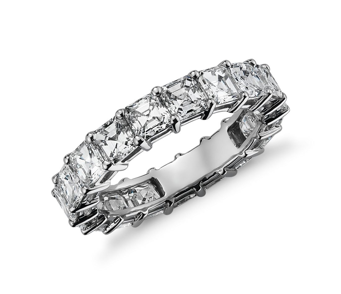 Asscher Cut Diamond Eternity Ring In Platinum 4 Ct Tw