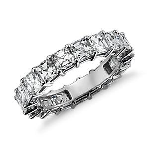 Anillo de eternidad de diamantes de talla Asscher en platino (4 qt. total)