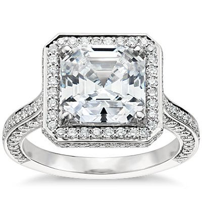 Blue Nile Studio Asscher Cut Royal Halo Diamond Engagement Ring in Platinum (3/4 ct. tw.)