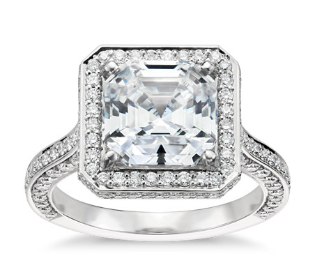 ring deco platinum asscher carat cut art rings engagement diamond wedding