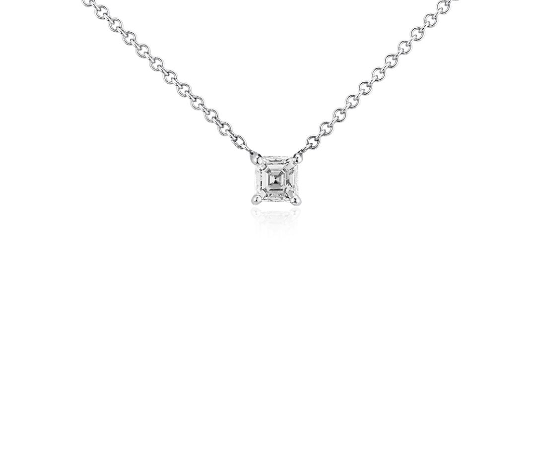 Asscher Diamond Solitaire Pendant in 14k White Gold (1/3 ct. tw.)