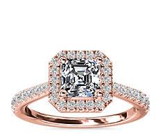 NEW Asscher Diamond Bridge Halo Diamond Engagement Ring in 14k Rose Gold (1/3 ct. tw.)
