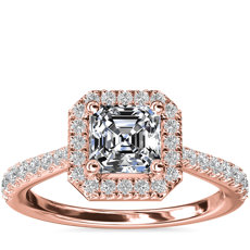 Asscher Diamond Bridge Halo Diamond Engagement Ring in 14k Rose Gold (1/3 ct. tw.)