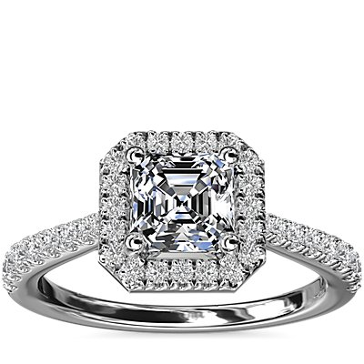 NEW Asscher Diamond Bridge Halo Diamond Engagement Ring in 14k White Gold (1/3 ct. tw.)