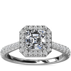 Asscher Diamond Bridge Halo Diamond Engagement Ring in 14k White Gold (1/3 ct. tw.)