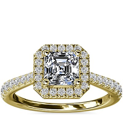 Asscher Diamond Bridge Halo Diamond Engagement Ring in 14k Yellow Gold (1/3 ct. tw.)