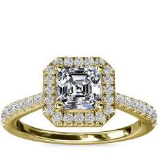 Bague de fiançailles halo de diamants surmontée d'un diamant taille Asscher en or jaune 14carats (1/3carat, poids total)
