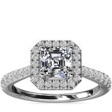 Bague de fiançailles halo de diamants surmontée d'un diamant taille Asscher en platine (1/3carat, poids total)