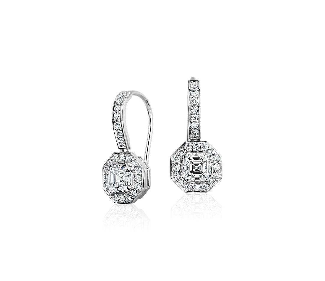 Asscher Cut Diamond Halo Drop Earrings in 18k White Gold (1 1/10 ct. tw.)
