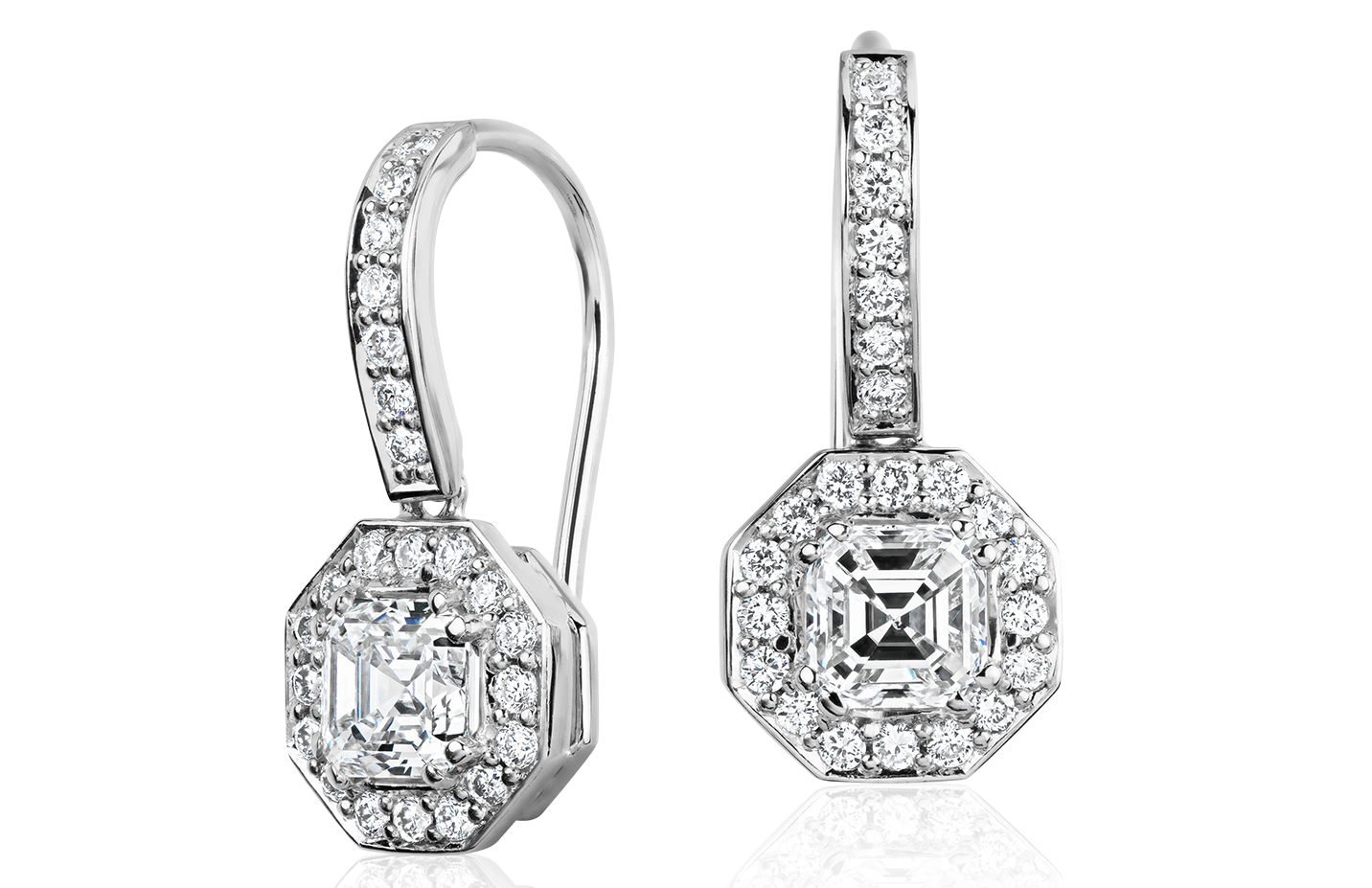 Pendants d'oreilles Halo de diamant taille Asscher en or blanc 18carats (1 1/10 ct. pt.)
