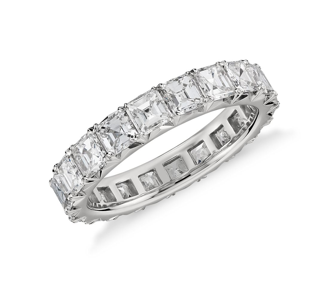 Blue Nile Studio French Pavé Asscher-Cut Diamond Eternity Ring in Platinum (2.7 ct. tw.)