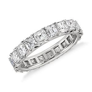 Bague d'éternité diamant serti pavé français taille Asscher de Blue Nile Studio en platine (3carats, poids total)
