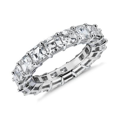新款 鉑金 上丁方形鑽石永恆戒指 <br>( 5.5 克拉總重量)