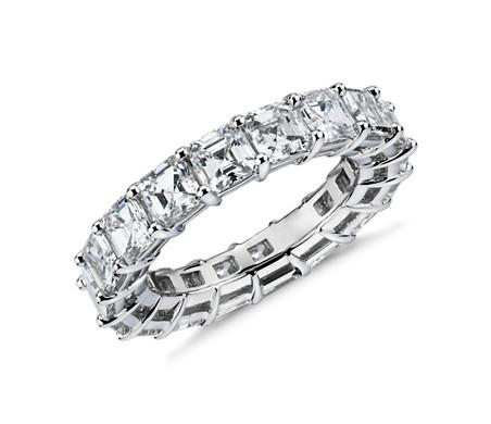 鉑金 上丁方形鑽石永恆戒指<br>( 5.5 克拉總重量)