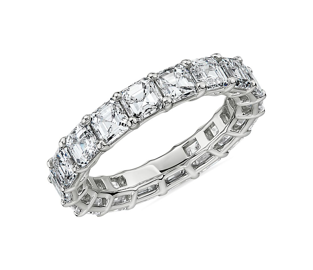 Asscher Cut Diamond Eternity Ring in Platinum- G/VS2 (5.5 ct. tw.)