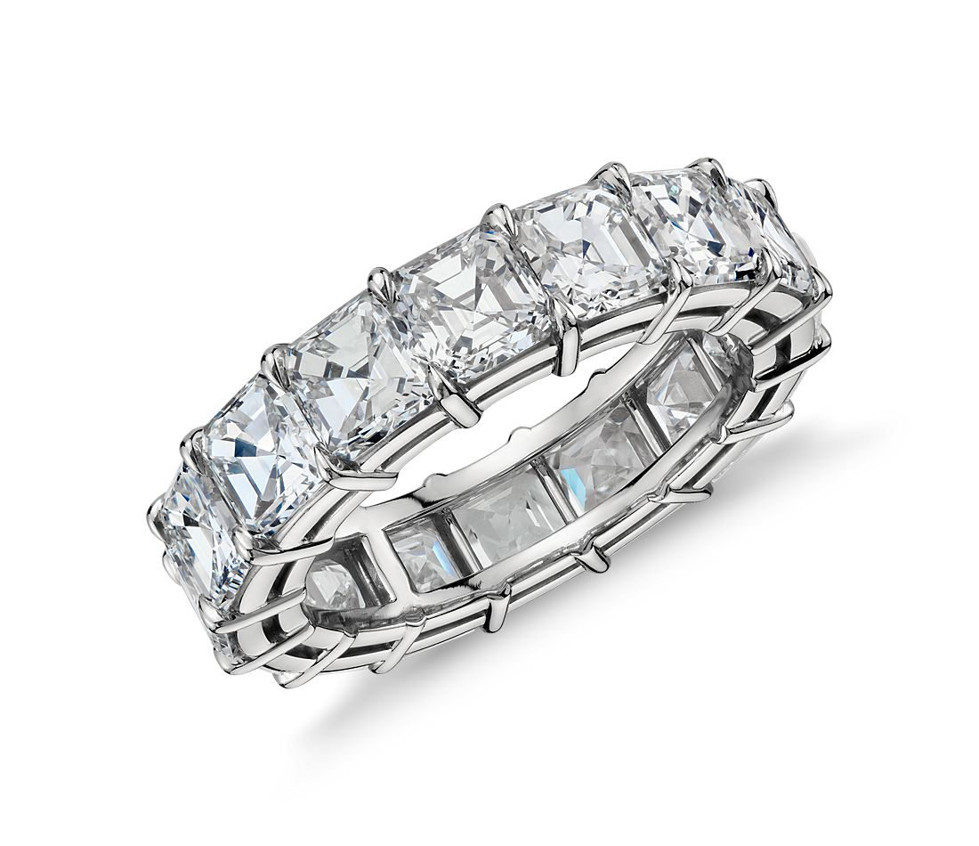 Asscher Cut Diamond Eternity Ring in Platinum, 8 ct. tw.