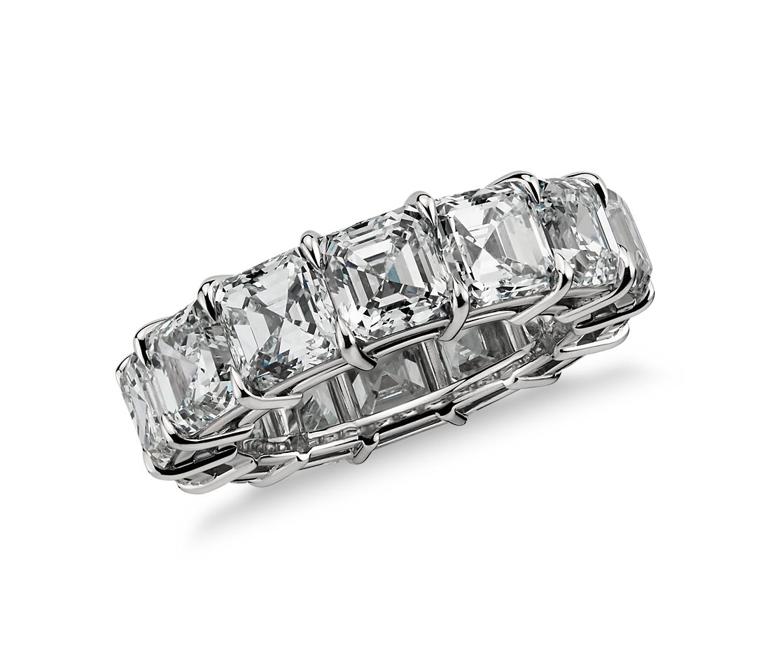 Asscher Cut Diamond Eternity Ring in Platinum, 10 ct. tw.
