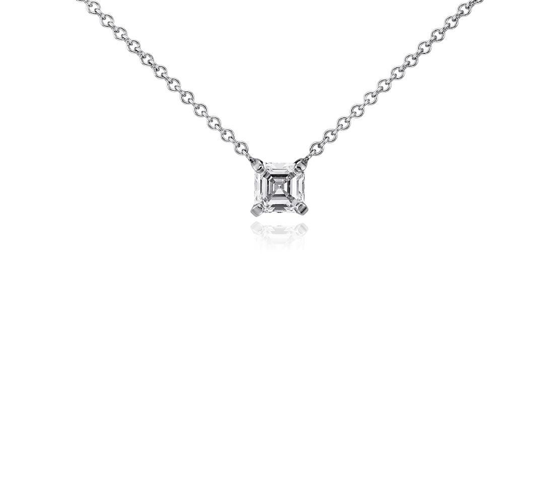 Asscher Diamond Solitaire Pendant in 14k White Gold (1/2 ct. tw.)