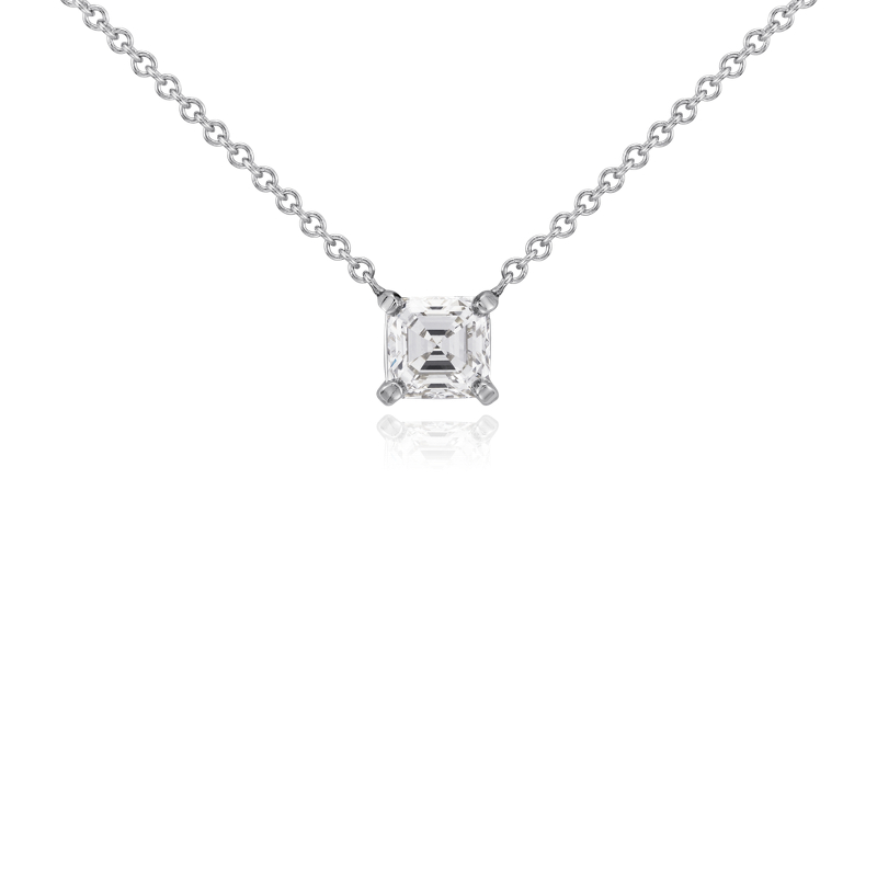 Asscher Diamond Solitaire Pendant in 14k White Gold (3/4 ct. tw.)