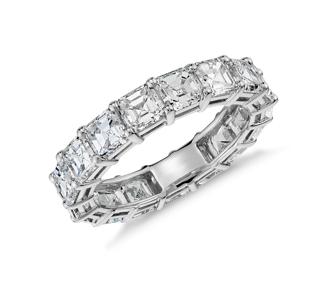 Asscher Cut Diamond Eternity Ring in Platinum (5 ct. tw ...