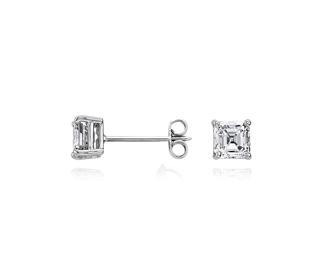 14k White Gold  Four-Claw Asscher Diamond Stud Earrings (0.96 ct. tw.)
