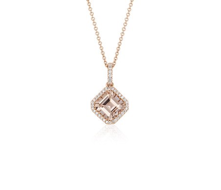 Kite set asscher cut morganite and diamond pendant in 18k rose gold kite set asscher cut morganite and diamond pendant in 18k rose gold 7mm aloadofball