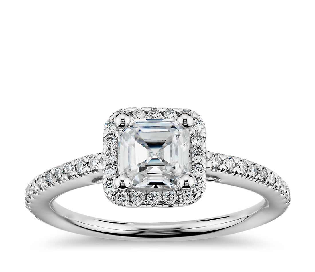 Cher Cut Halo Diamond Engagement Ring In 14k White Gold