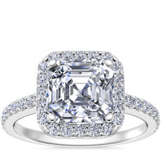 Asscher Cut Halo Diamond Engagement Ring in Platinum
