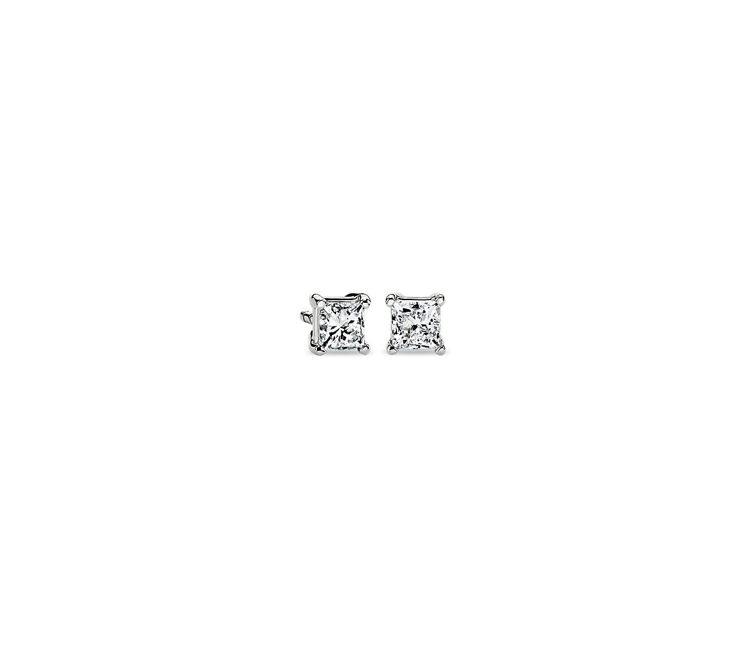 Astor Princess-Cut Diamond Stud Earrings in Platinum (5/8 ct. tw.) - F / VS2