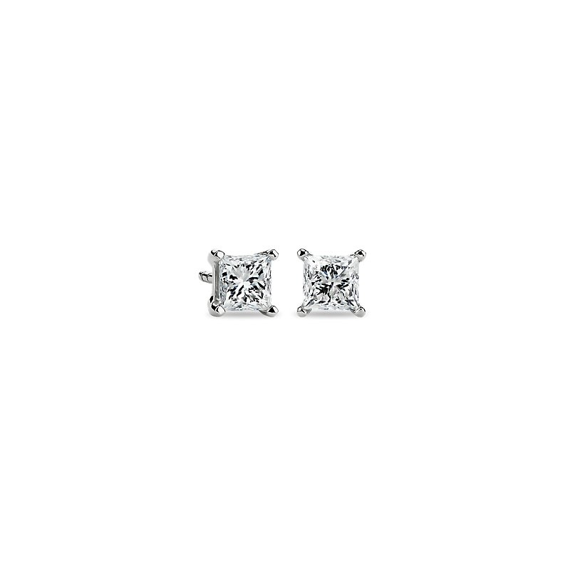 Astor Princess-Cut Diamond Stud Earrings in Platinum (1 ct. tw.)