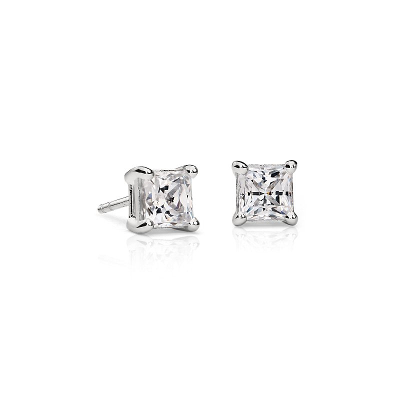 Astor Princess-Cut Diamond Stud Earrings in Platinum (1 1/2 ct. t