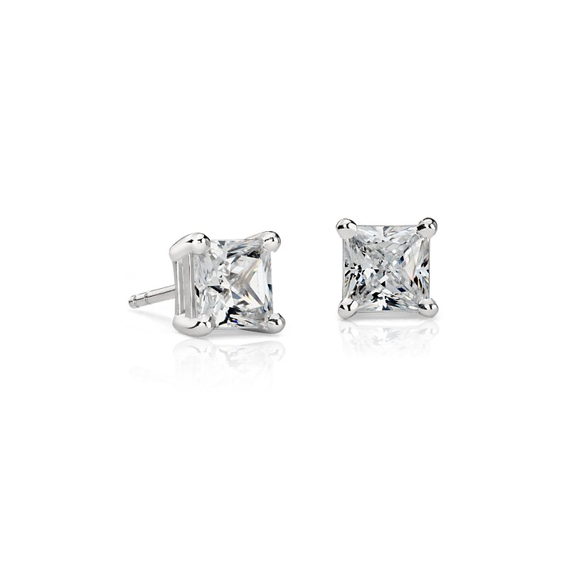 Astor Princess-Cut Diamond Stud Earrings in Platinum (2 ct. tw.)