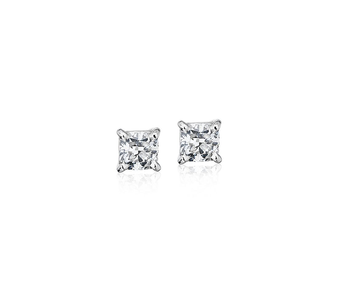 Astor Cushion-Cut Diamond Stud Earrings in Platinum (2 ct. tw.) - H / SI2