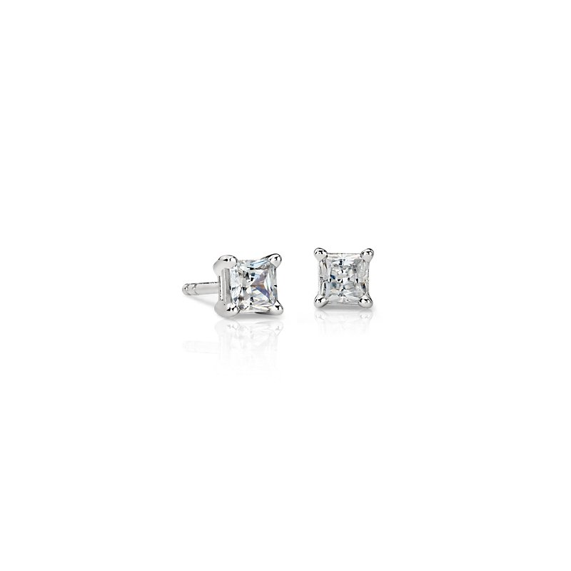 Astor Princess-Cut Diamond Stud Earrings in Platinum (5/8 ct. tw.