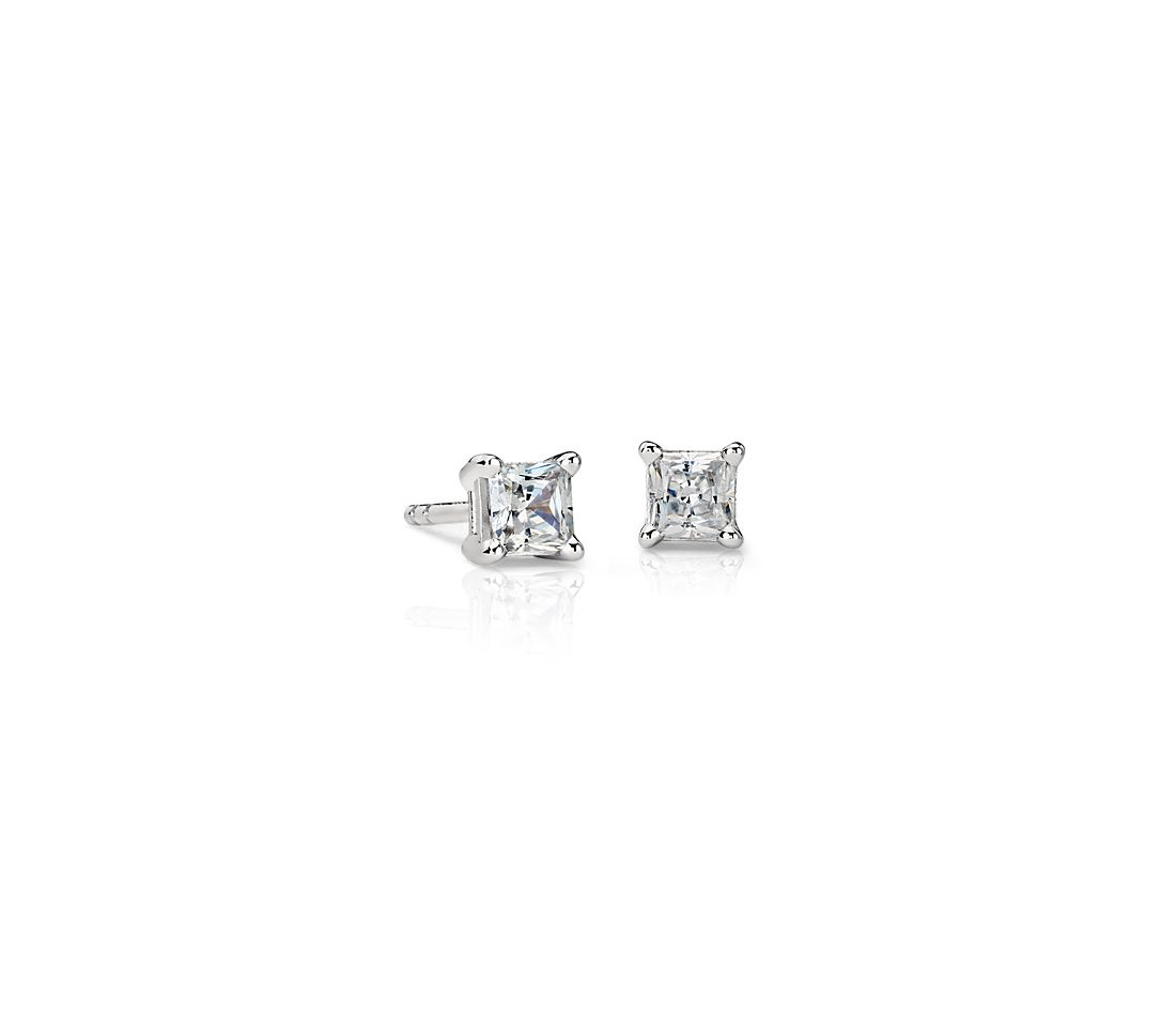 Astor Princess-Cut Diamond Stud Earrings in Platinum (5/8 ct. tw.) - H / SI2