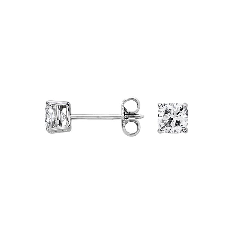 Astor Cushion-Cut Diamond Stud Earrings in Platinum (1 ct. tw.) -
