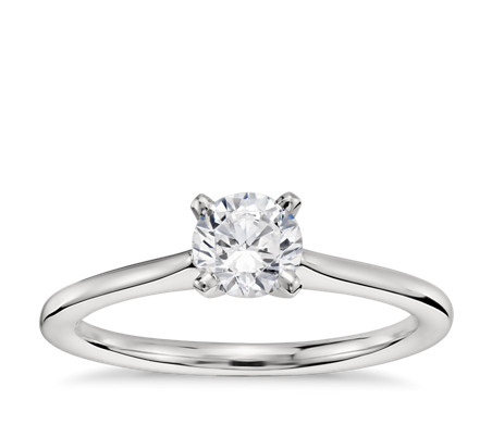 1/2 Carat Ready-to-Ship Petite Solitaire Engagement Ring in Platinum with Astor by Blue Nile Diamond