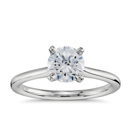 1 Carat Ready-to-Ship Petite Solitaire Engagement Ring in Platinum with Astor by Blue Nile Diamond