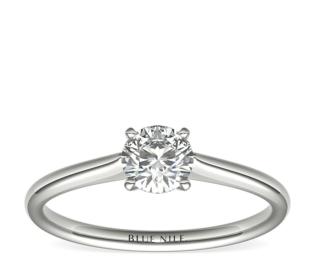 Ready-to-Ship Petite Solitaire Engagement Ring in Platinum with Astor by Blue Nile Diamond (1/2 ct. tw.)