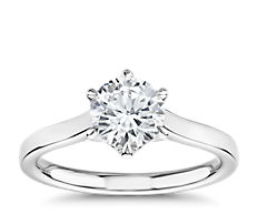 The Gallery Collection Six-Claw Trellis Solitaire Diamond Engagement Ring in Platinum