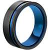 Asymmetrical Black & Blue Engraved Wedding Band in Tungsten (8mm)