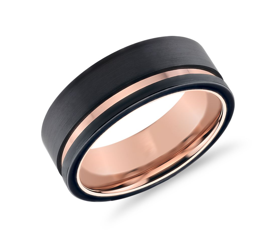Asymmetrical Black Rose Engraved Wedding Band In Tungsten 8mm
