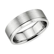 鉑金不對稱拋光邊緣啞光結婚戒指(7毫米)