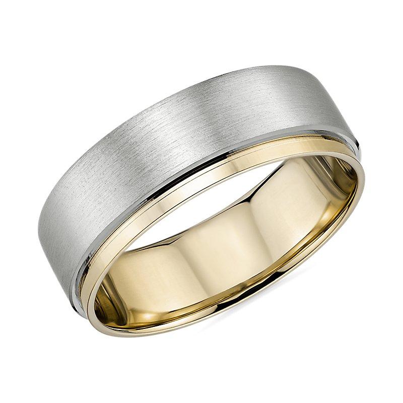 Two-Tone Asymmetrical Polish Edge Matte Wedding Band in Platinum