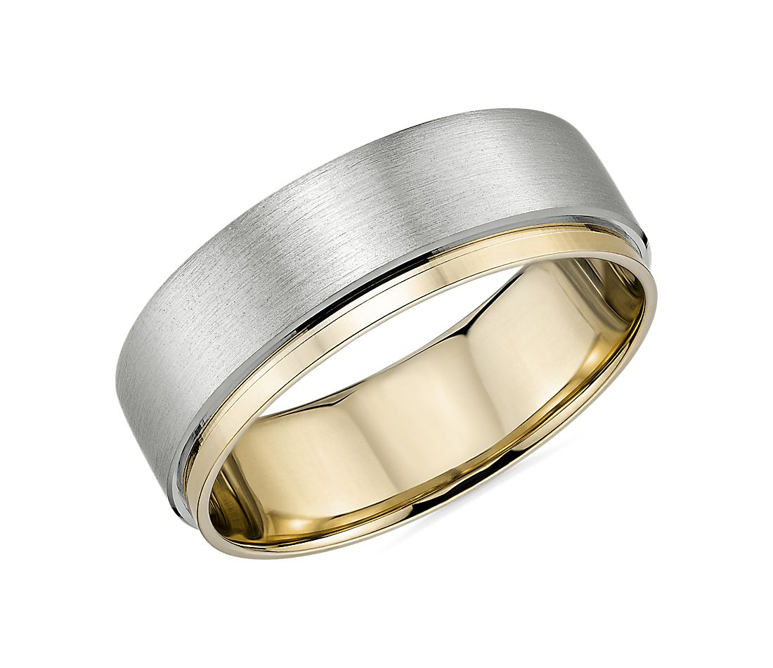 Two-Tone Asymmetrical Polish Edge Matte Wedding Band in Platinum and 18k Yellow Gold (7mm)