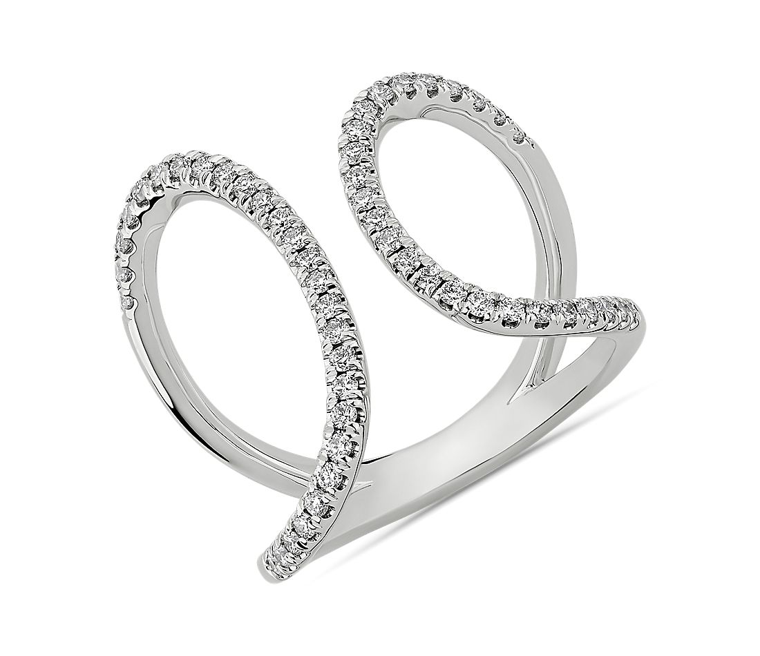Asymmetrical Split Arc Diamond Fashion Ring in 14kt White Gold (1/3 ct. tw.)