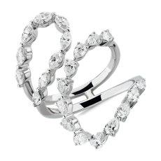 新款 14k 白金前卫风扭转设计花式切割钻石时尚戒指<br>(1 7/8 克拉总重量)